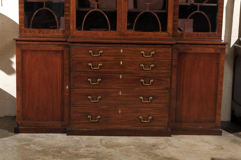 19th Century English Mahogany Breakfront Bookcase 2