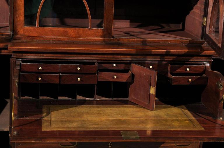 19th Century English Mahogany Breakfront Bookcase 1