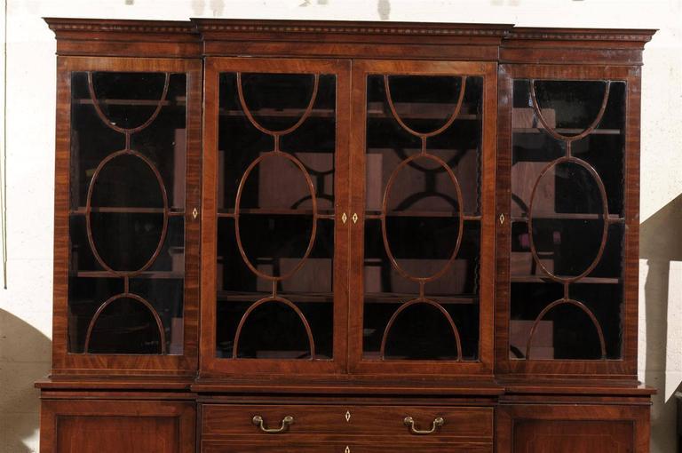 19th Century English Mahogany Breakfront Bookcase 3