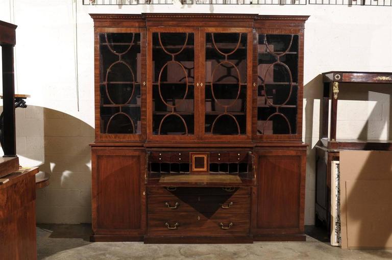 19th Century English Mahogany Breakfront Bookcase 6