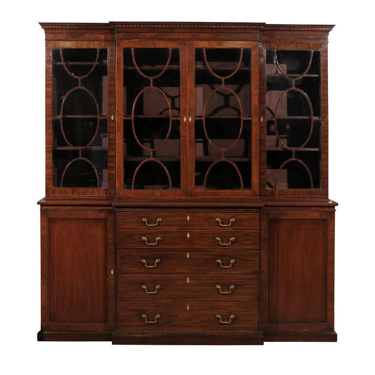 19th Century English Mahogany Breakfront Bookcase