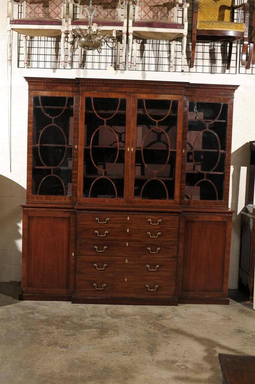19th century English mahogany breakfront bookcase.