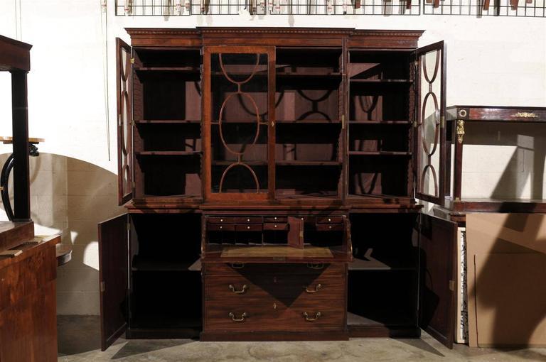19th Century English Mahogany Breakfront Bookcase 7