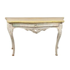 Large 18th Century Italian Rococo Painted Console with Serpentine Shape & Drawer