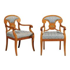 Pair of Biedermeier Style Armchairs in Maple, First Quarter of the 20th Century