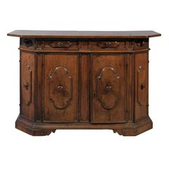 17th Century Walnut Credenza with Four Drawers and Cabinet Doors, Italy