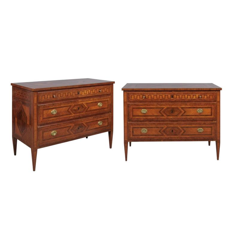 Pair of Early 19th Century Italian Neoclassical Style Greek Key Commodes