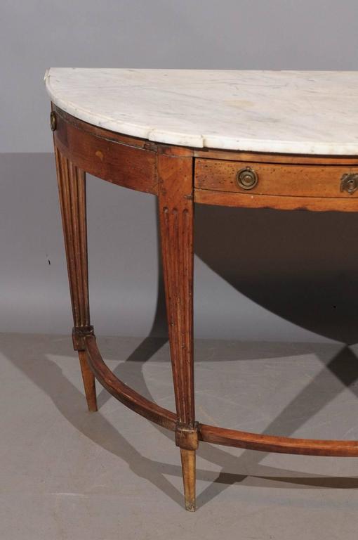 18th century louis xvi walnut demilune console with drawer for Demilune console table with drawers