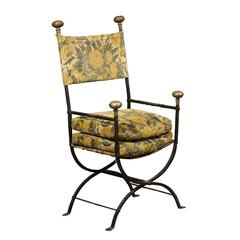 Large 19th Century Iron and Brass Campaign Chair, circa 1850