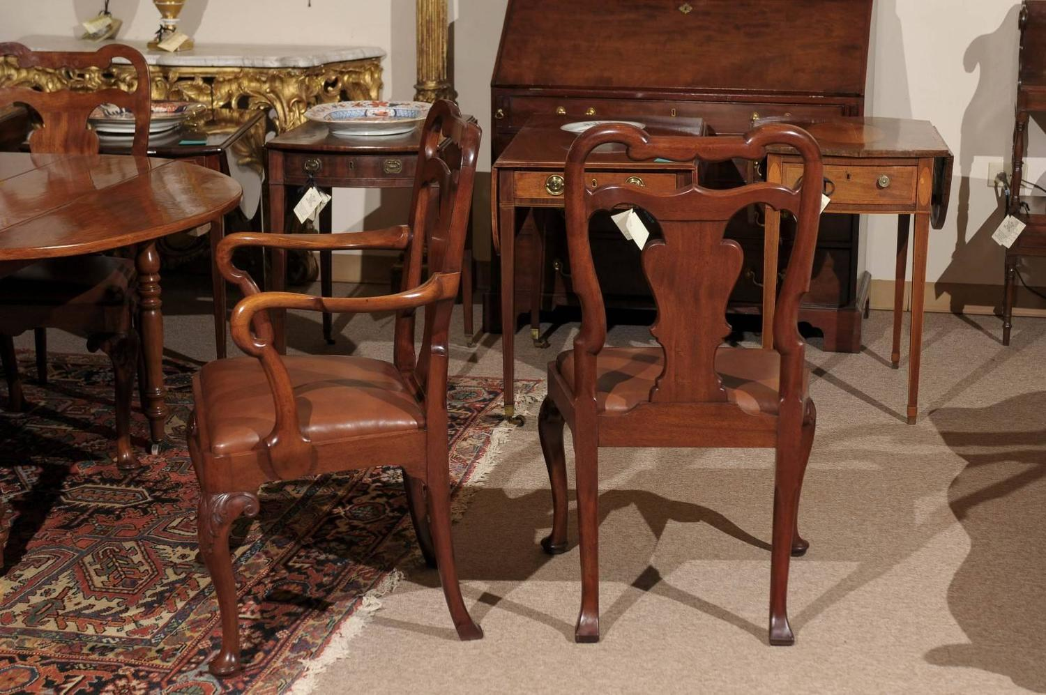 The Dining Room Is Back 4 Ways To Revive Your Fabulous: Set Of Eight Queen Anne Style Mahogany Dining Chairs