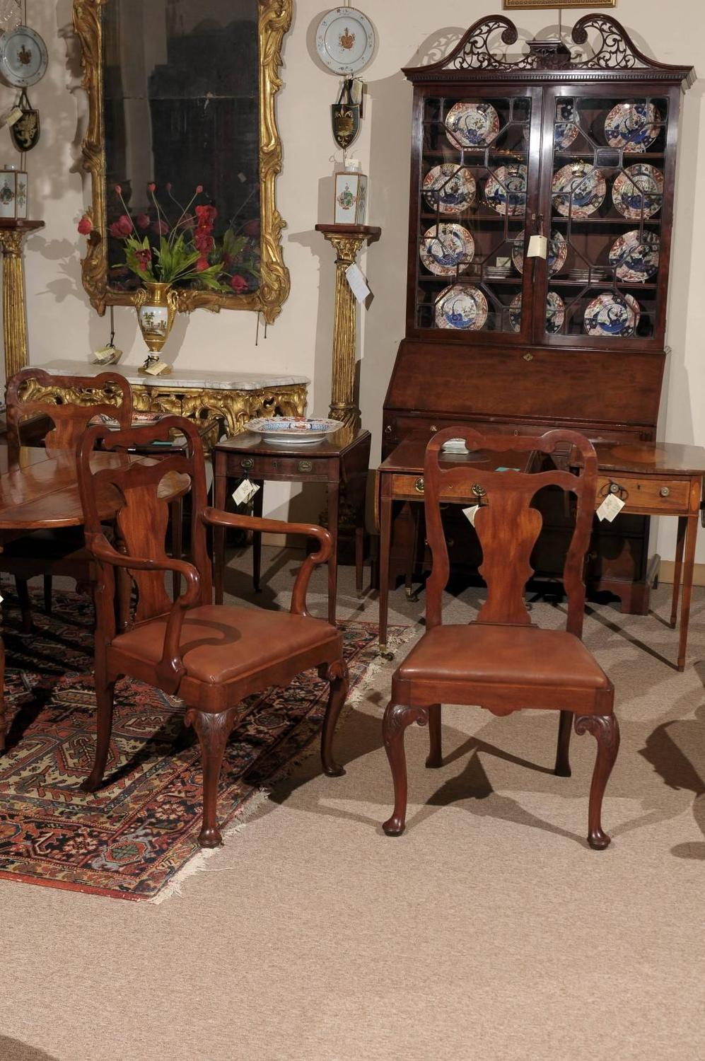 set of eight queen anne style mahogany dining chairs early 20th