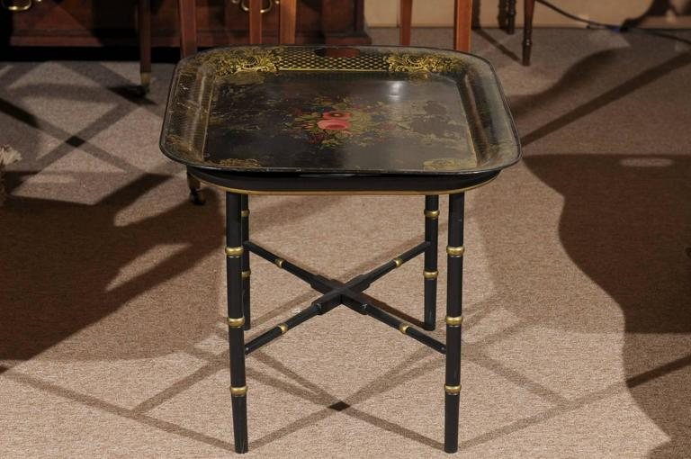 French Tole Tray Table with Flower Basket Design, 19th Century In Good Condition For Sale In Atlanta, GA