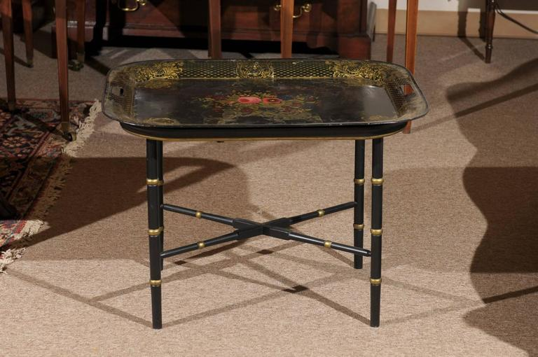 Metal French Tole Tray Table with Flower Basket Design, 19th Century For Sale