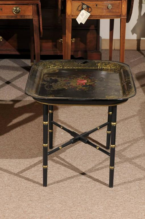 French Tole Tray Table with Flower Basket Design, 19th Century For Sale 2