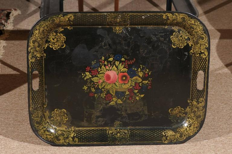 French Tole Tray Table with Flower Basket Design, 19th Century For Sale 4