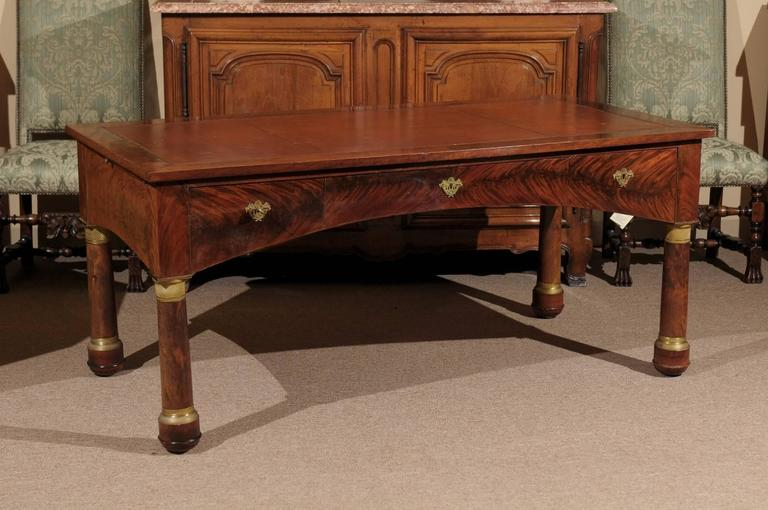 Large Empire French writing desk or bureau plat with embossed brown leather  top, bronze dore - Large Empire French Writing Desk With Embossed Brown Leather Top And