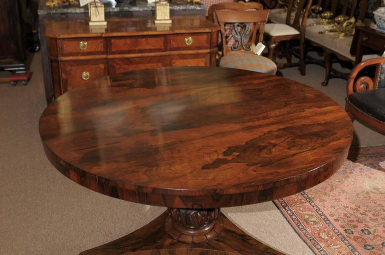 19th century english rosewood center table with carved for Cuir center table basse