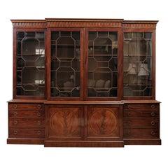18th Century English George III Mahogany Breakfront Bookcase