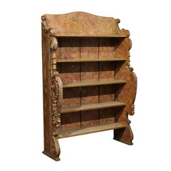 Rococo Style Giltwood and Polychrome Painted Open Bookcase, Spain 20th Century