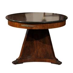 19th Century French Empire Center Table with Grey Marble Top and Paw Feet