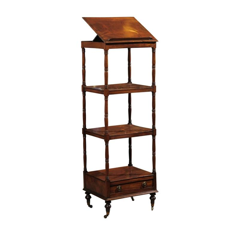 19th Century English Mahogany Trolley with Music Stand, Three Shelves & Drawer