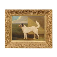 19th Century Giltwood Framed Oil on Canvas Dog Painting