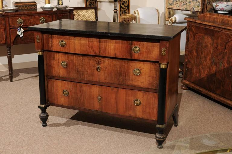 19th Century Continental Empire Walnut Commode For Sale 2