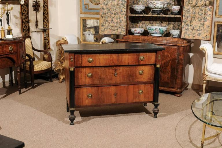 European 19th Century Continental Empire Walnut Commode For Sale