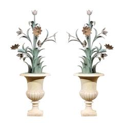 Pair of 18th Century Marble Urn with Painted Tole Flowers, France