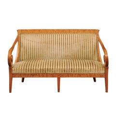 Early 19th Biedermeier Settee with Scroll Arms and Curved Back in Birch Wood