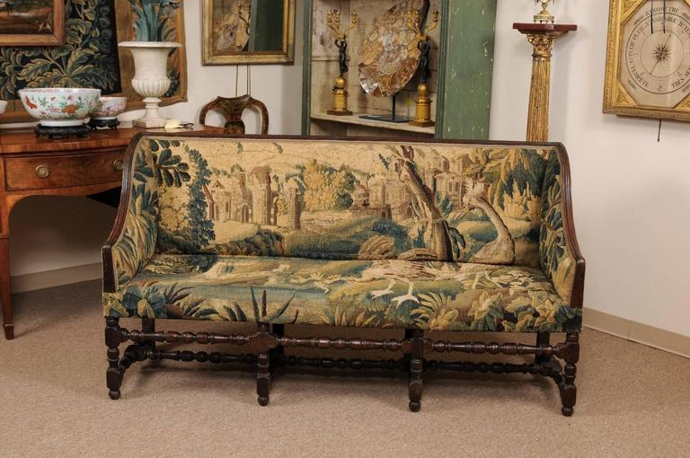 Turned Early 18th Century French Louis XIII Oak Style Canape with 18th Century Aubsson For Sale