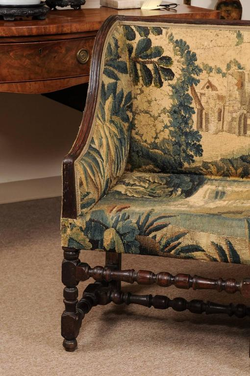 Tapestry Early 18th Century French Louis XIII Oak Style Canape with 18th Century Aubsson For Sale