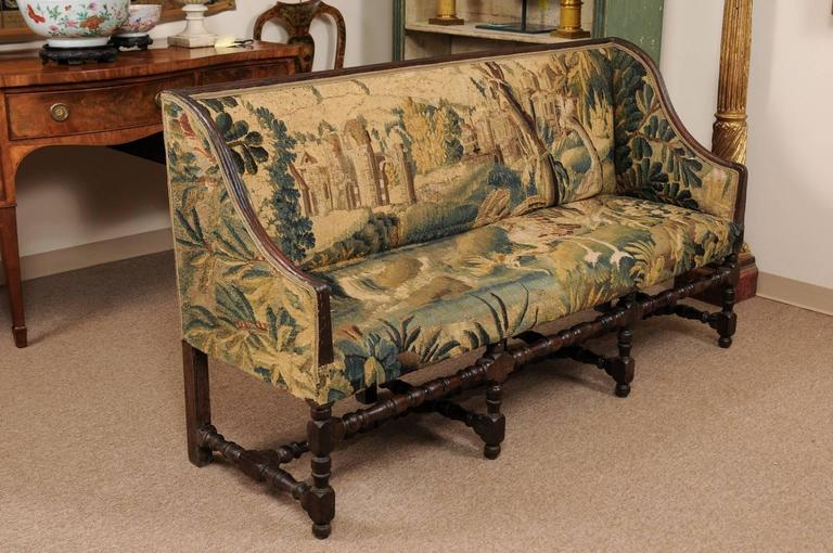 Early 18th Century French Louis XIII Oak Style Canape with 18th Century Aubsson For Sale 2