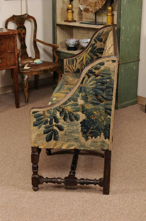 Early 18th Century French Louis XIII Oak Style Canape with 18th Century Aubsson For Sale 3