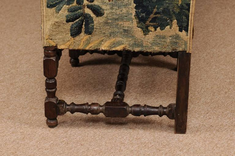 Early 18th Century French Louis XIII Oak Style Canape with 18th Century Aubsson For Sale 4