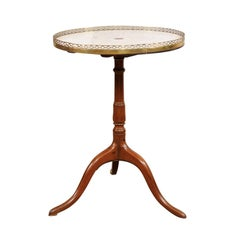 French Louis XVI Revolving Walnut Gueridon with Marble Top