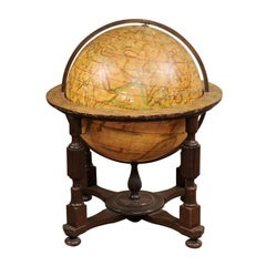 19th Century Globe on Wooden Stand with Fluted Turned Columns & Cross Stretcher