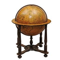 17th Century Italian Painted Wood Celestial Globe on Later Turned Leg Stand