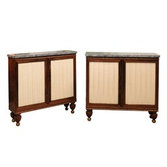 Pair of English Regency Rosewood Cabinets with Grey Marble Tops
