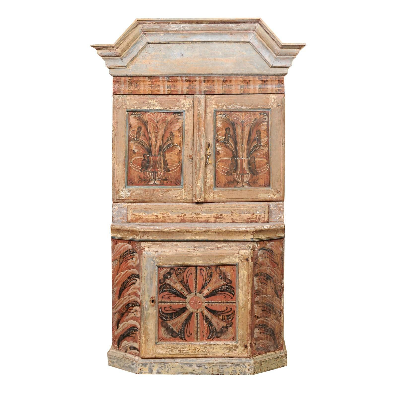 Swedish Painted Polychrome Cupboard, Early 19th Century