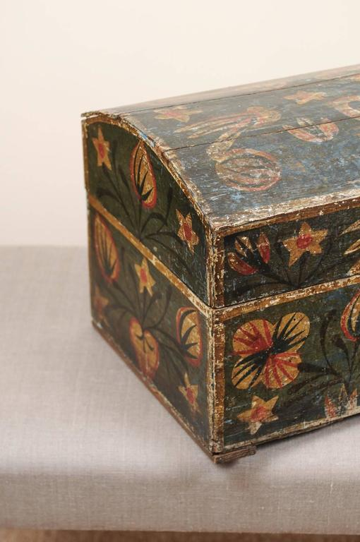 19th Century Swedish Painted Brides Box With Floral Motif