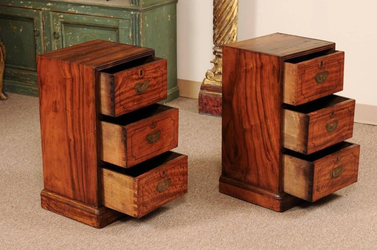 19th Century Pair of Campaign Style Bedside Tables in Mahogany with Three Drawers For Sale