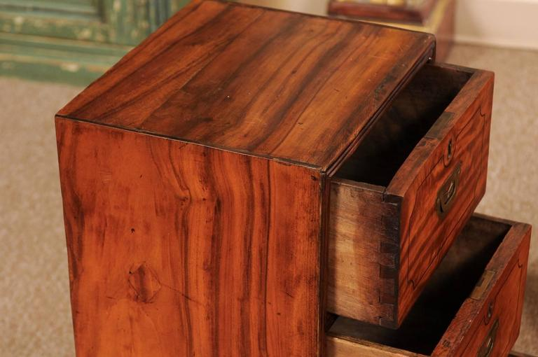 Brass Pair of Campaign Style Bedside Tables in Mahogany with Three Drawers For Sale
