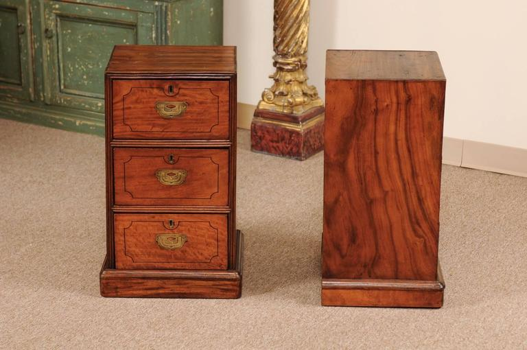 Pair of Campaign Style Bedside Tables in Mahogany with Three Drawers For Sale 1