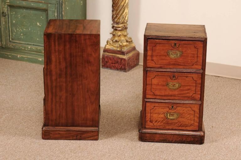 Pair of Campaign Style Bedside Tables in Mahogany with Three Drawers For Sale 2