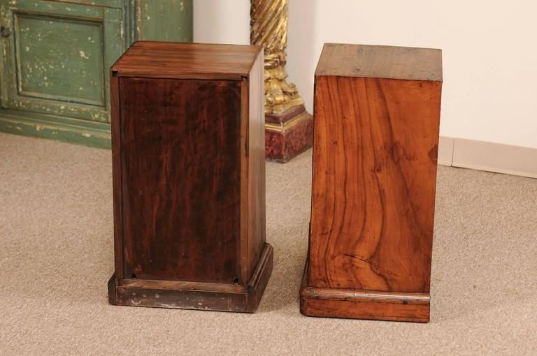 Pair of Campaign Style Bedside Tables in Mahogany with Three Drawers For Sale 3