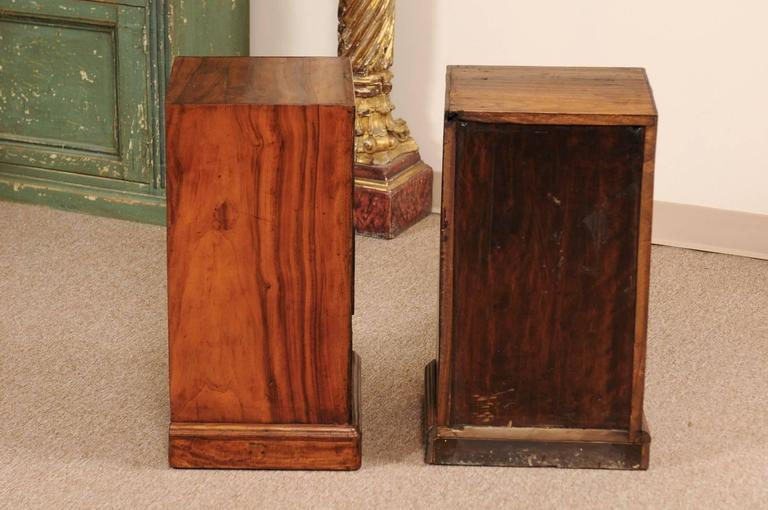 Pair of Campaign Style Bedside Tables in Mahogany with Three Drawers For Sale 4