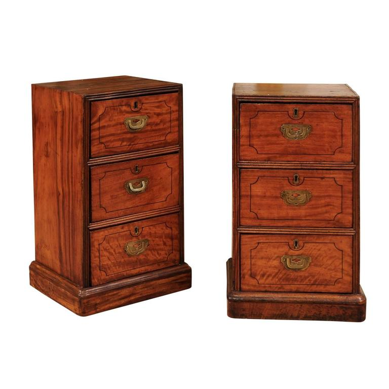 Pair of Campaign Style Bedside Tables in Mahogany with Three Drawers For Sale