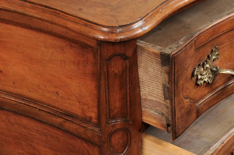 18th Century and Earlier 18th Century French Walnut Louis XV Three-Drawer Commode with Linen Fold Front For Sale