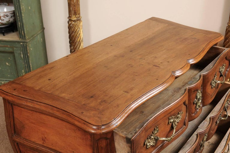 18th Century French Walnut Louis XV Three-Drawer Commode with Linen Fold Front For Sale 2